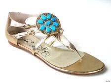 NIB $375 TIBI gold leather JEWELED flats shoes 10.5 Italy