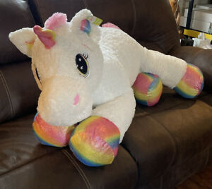 GIANT Stuffed Animal White W/ Rainbow Hoofs Unicorn Plush large pillow jumbo