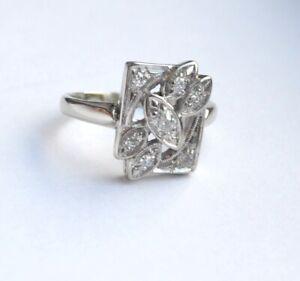 Antique 14K White gold 0.25 TCW  Diamond Ring Size 4