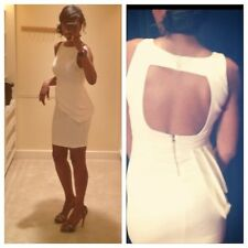 $396 Alice + Olivia off White Spelling Side Peplum sheath Dress SZ 10 NWT