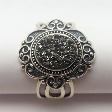 Bradford Exchange Sterling Silver Ring with Black Agate Druzy Stone 925