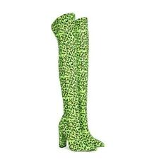 New Womens Stretch Pointed Toes Block Heel Leopard Slim Overknee Boots Size