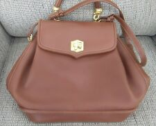 Barry Kieselstein Cord Brown Leather Gold Labrador Dog Clasp Handbag