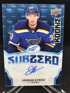 Jordan Kyrou 2018-19 Upper Deck Ice Sub Zero Autographs Blue