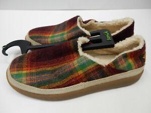 Sanuk Womens Slippers Litte Bootah Vintage Rainbow Plaid Woven Size 7