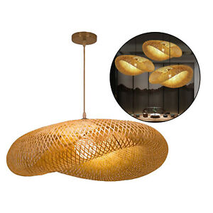 Bamboo Lampshade Cafe Hotel Bedroom Hanging Ceiling Woven Light Shade Cover