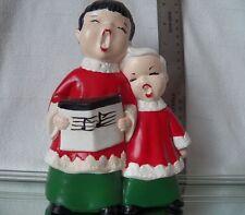 Vintage Christmas Caroler figurine choir boy singer song book ceramic handmade
