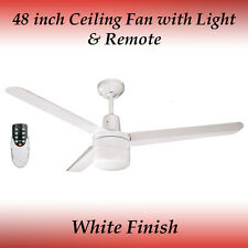 Sparky 48 inch 3 Blade White Aluminum Ceiling Fan with Light and Remote