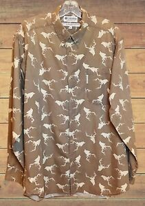 Columbia Men's Long Sleeve Army Drab Deer Head Camouflage Button Front Shirt L