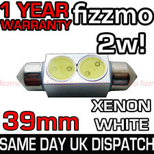39MM NUMBER PLATE LIGHT FESTOON BULB 2w HIGH POWER SMD LED XENON WHITE BRIGHT