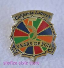 California State Lottery Wheel Pinback 5 Years of Fun Hat Lapel Pin 1990 Anniver
