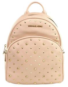 Michael Kors Abbey Backpack Bag Ballet Pink Gold Tone Studded Medium Womens