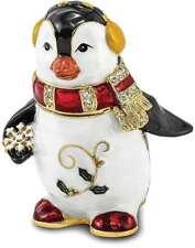 Bejeweled Kristall Emaillierte Winter Pinguin Schmuckkästchen