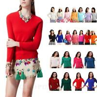 Cashmere Jumper Celebrity Fashion Winter Ladies Wool Sweater Knitted Top Size