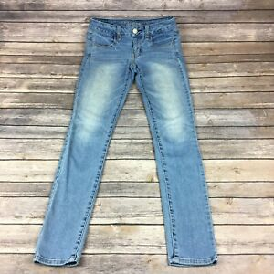 American Eagle Outfitters Super Stretch Jeggings Faded Blue Denim Womens Size 2
