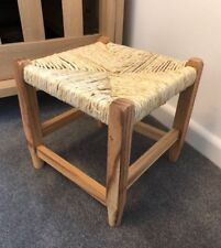 Small Wicker Footstool Vintage Rattan Light Brown Wood Children's Seat Country