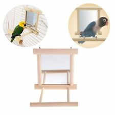 Mirror Pet Bird Wooden Play Toy with Perch For Parakeet Finch Parrot Lovebird