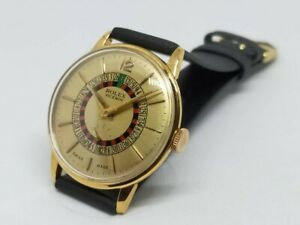 Vintage Rolex Viceroy Roulette Wheel 34mm Champagne Face Men's Wrist Watch