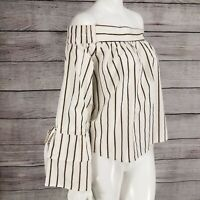 NEW e&m S Off the Shoulder Top Blouse Shirt Striped Sleeve ties Summer NWOT