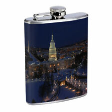 Washington D.C. D2 Flask 8oz Stainless Steel Hip Drinking Whiskey Monuments