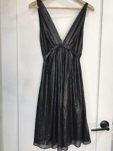 CARLA ZAMPATTI Sz 8 Black Metallic Sheen Dress With Waist Tie