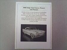 1960 Dodge Dart Seneca, etc factory cost/dealer sticker prices for car+options $
