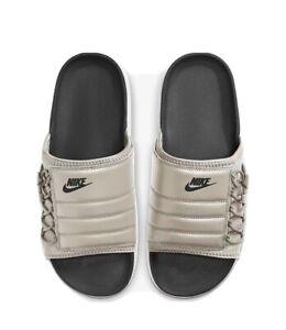 Nike Asuna Slide - Size 9 Desert Sand/White/Black Elastic Adjustable CW9703-009