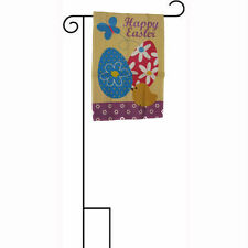"12x18 12""x18"" Happy Easter Eggs and Duckling Chick Sleeved w/ Garden Stand Flag"