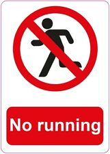 NO RUNNING sticker health and safety first aid warning Safety Sticker 150x210mm