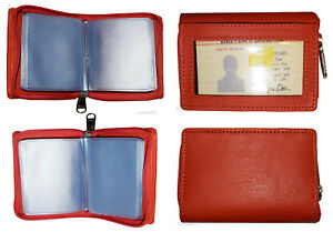 RFID Zip Around  Leather Business Card ID Credit card picture case 30 card slots