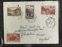 1937 Paris France COver to England Stamp Exposition Label on back # B60-B62