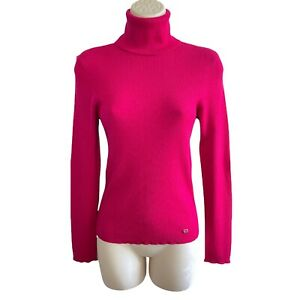Escada - Size 38 - Wool / Silk / Cashmere Fully Ribbed Turtleneck Sweater