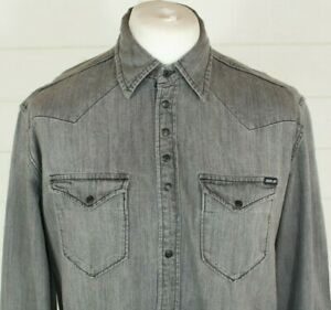 REPLAY Denim Shirt XL Grey Snap Fasten Smart Casual Autumn Winter Hipster Gift