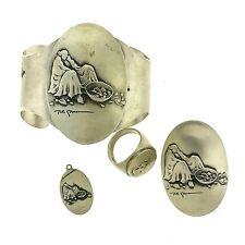 RC Gorman Basket Woman Sterling Silver Set: Concho Belt Bolo Ring Pin Charm