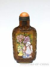 "Old Handmade ""Buddha & Children"" Yellow Color Carved Enamel Glass Snuff Bottle"