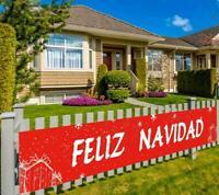 Feliz Navidad Banner Decoraciones De Navidad Rojo Navideñas Exterior Decoracion