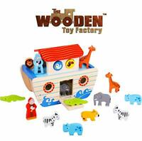 The Wooden Toy Factory - Noah's Ark Playset Wooden Shape Sorter - Educational