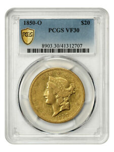 1850-O $20 PCGS VF30 - Scarce, Popular New Orleans Issue