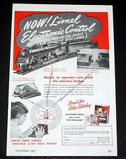 1946 OLD MAGAZINE PRINT AD, LIONEL TRAINS, ELECTRONIC CONTROL SIMPLE TO OPERATE!