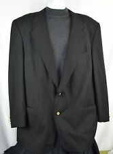 Burberry Wool Blazer 50L Black Gold Buttons Lined Sport Jacket Super 100s I1