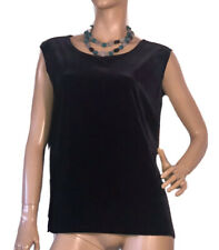 🌻 PERRI CUTTEN RSVP SIZE L BLACK VELVET SLEEVELESS TOP BNWT