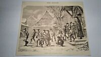 """ANTIQUE WOODCUT OLD VICTORIAN 1872 ART PRINTS """"COMING OUT OF SCHOOL"""" BY VAUTIER"""