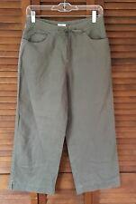 J. Jill Women's 100% Linen Capri Pants Size 4 Cropped Drawstring Brown Loose-Fit