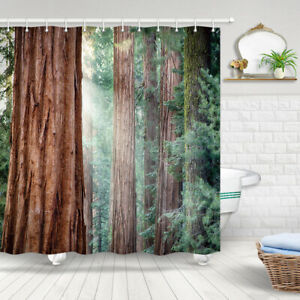 Nature Forest Pine Tree Trunk Shower Curtain for Bathroom Fabric Curtains 71''