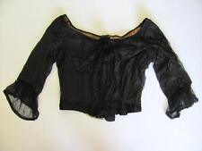 1920s Antique Art Deco Ladies Black Silk Body Top Coatee Jacket