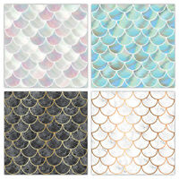 Shell Fish Scale Tile Stickers - Marble & Pearl Effect - Bathroom Kitchen - T23S