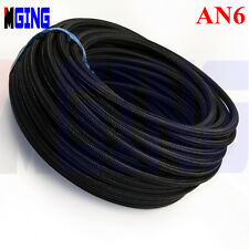 AN6 AN 6 AN-6 Stainless Steel Nylon Braided Oil Fuel Gas Line Hose 3M 9.8FT BK