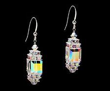 *CKS* Glittering Cube .925 Sterling Silver Earrings w Swarovski Crystal AB Upick