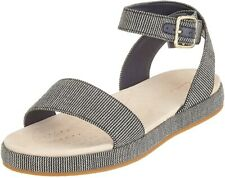 Clarks Botanic Ivy Navy Canvas Flat Sandals Size UK 4/37 D