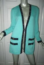 ST. JOHN COLLECTION/Marie Gray Santana Knit Green & Navy Blue Jacket Small